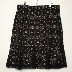 Ann Taylor Black Lace Flounce Skirt